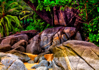 boulders , sand and trees impession