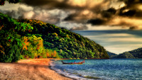 Long tail boat beach Cape Panwa Thailand impression 16x9