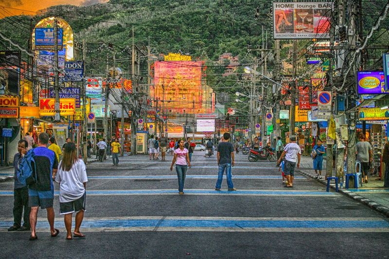 Bangla Road Patong Beach Thailand night life and shopping HDR 2