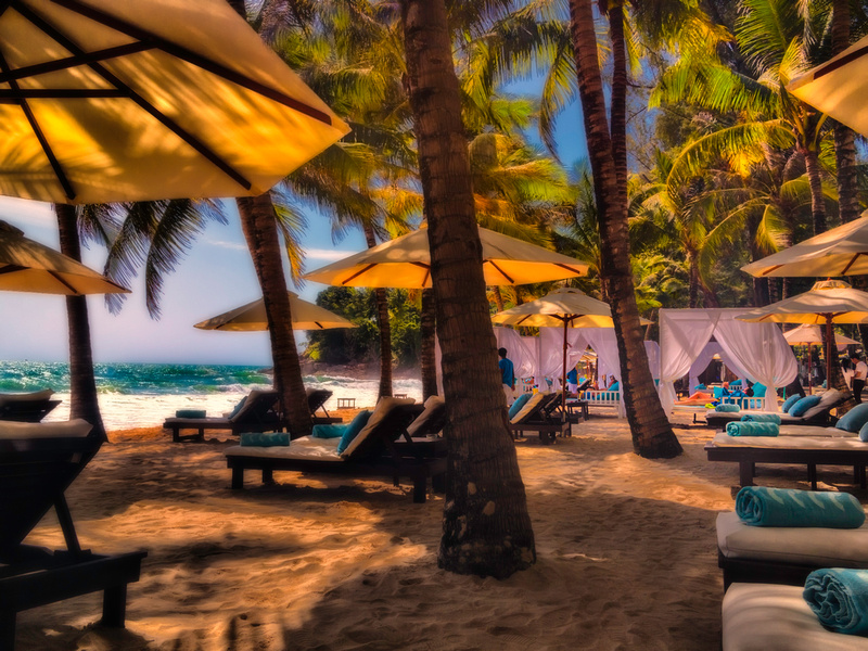 relaxing under tropical trees on the beach impression