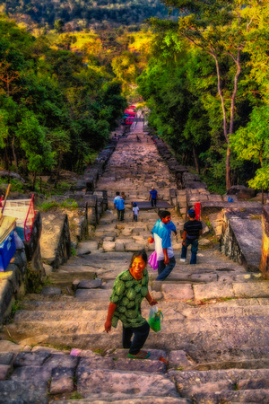 going down steps from Preah Vihear