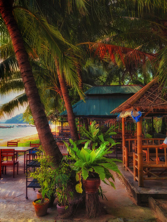 cafe along on Gypsy Beach Siray Island Phuket