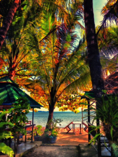 waterfront cafe coconut trees table  Siray Island Gypsy Beach im